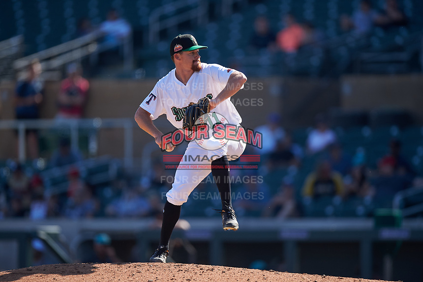 Surprise Saguaros relief pitcher Josh Advocate (11), of the Texas Rangers organization, during the Arizona Fall League Championship Game against the Salt River Rafters on October 26, 2019 at Salt River Fields at Talking Stick in Scottsdale, Arizona. The Rafters defeated the Saguaros 5-1. (Zachary Lucy/Four Seam Images)