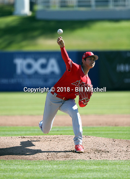 """Shohei Ohtani pitches for the Los Angeles Angels in a spring training """"B"""" game against the Milwaukee Brewers at Maryvale Stadium on March 2, 2018 in Phoenix, Arizonai (Bill Mitchell)"""