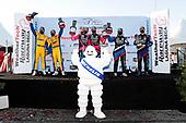 #86 Meyer Shank Racing w/Curb-Agajanian Acura NSX GT3, GTD: Mario Farnbacher, Matt McMurry, #57 Heinricher Racing w/MSR Curb-Agajanian Acura NSX GT3, GTD: Alvaro Parente, Misha Goikhberg, podium, #96 Turner Motorsport BMW M6 GT3, GTD: Robby Foley III, Bill Auberlen