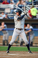Staten Island Yankees outfielder Austin Aune (22) at bat during a game against the Batavia Muckdogs on August 6, 2014 at Dwyer Stadium in Batavia, New York.  Batavia defeated Staten Island 5-3.  (Mike Janes/Four Seam Images)