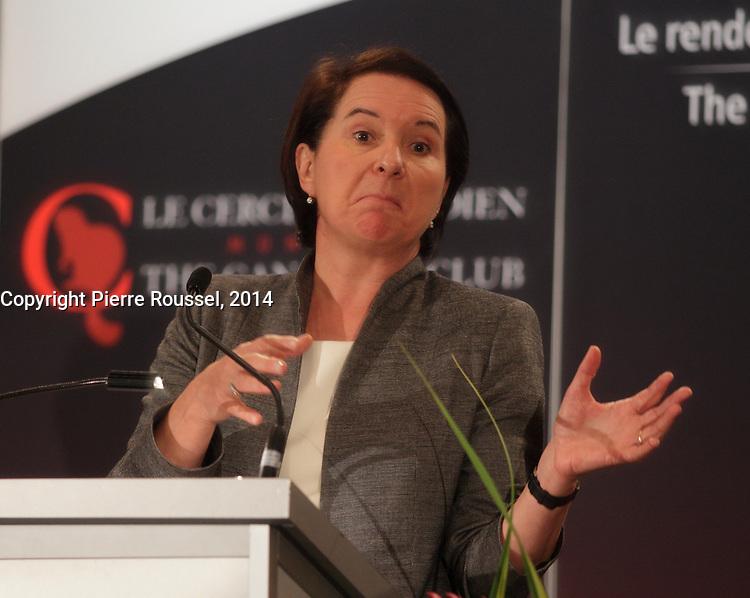 March 31, 2014  - Marie Polet , President & CEO , Imperial Tobacco Canada speak at the Canadian Club of Montreal.<br /> <br /> Discour de Marie Polet ,Présidente et chef de la direction  Imperial Tobacco Canada, au Cercle canadien de Montréal.<br /> <br /> PHOTO : Pierre Roussel
