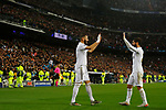 Real Madrid CF's Karim Benzema and Real Madrid CF's Isco Alarcon celebrates after scoring a goal during UEFA Champions League match, groups between Real Madrid and Paris Saint Germain at Santiago Bernabeu Stadium in Madrid, Spain. November, Tuesday 26, 2019.(ALTERPHOTOS/Manu R.B.)