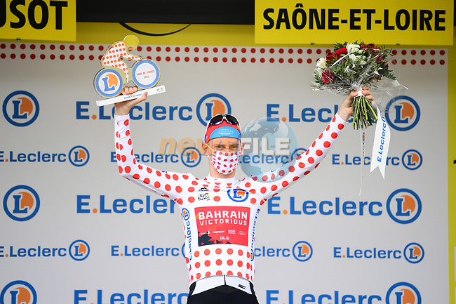 Slovenian Champion Matej Mohoric (SLO) Bahrain-Victorious from the breakaway wins Stage 7 and takes over the mountains Polka Dot Jersey of the 2021 Tour de France, running 249.1km from Vierzon to Le Creusot, France. 2nd July 2021.  <br /> Picture: A.S.O./Pauline Ballet   Cyclefile<br /> <br /> All photos usage must carry mandatory copyright credit (© Cyclefile   A.S.O./Pauline Ballet)