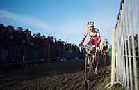 Kevin Pauwels (BEL) leading, but tailed by (later winner) Tom Meeusen (BEL)<br /> <br /> 2014 Noordzeecross<br /> Elite Men