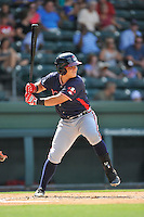 Catcher Jonathan Morales (8) of the Rome Braves bats in a game against the Greenville Drive on Sunday, July 31, 2016, at Fluor Field at the West End in Greenville, South Carolina. Rome won, 6-3. (Tom Priddy/Four Seam Images)