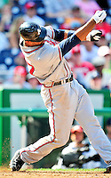 25 September 2010: Atlanta Braves outfielder Derrek Lee looses his grip on the bat during game action against the Washington Nationals at Nationals Park in Washington, DC. The Braves shut out the Nationals 5-0 to even their 3-game series at one win apiece. The Braves' victory was the 2500th career win for skipper Bobby Cox. Cox will retire at the end of the 2010 season, crowning a 29-year managerial career. Mandatory Credit: Ed Wolfstein Photo