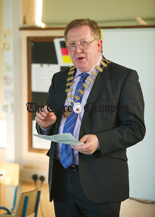 """Sean Mc Mahon, National vice-president of the INTO speaking during a graduation ceremony for Burren Beo """"Burren Expert"""" pupils of New Quay National School as part of the Eco Beo programme. Photograph by John Kelly."""