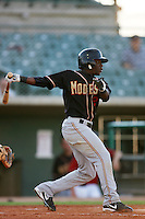 August 24 2008: Anthony Jackson of the Modesto Nuts bats against the Lancaster JetHawks at Clear Channel Stadium in Lancaster,CA.  Photo by Larry Goren/Four Seam Images