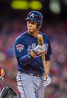 5 April 2014: Atlanta Braves shortstop Andrelton Simmons at bat against the Washington Nationals at Nationals Park in Washington, DC. The Braves defeated the Nationals 6-2 to take the second game of their 3-game series. Mandatory Credit: Ed Wolfstein Photo *** RAW (NEF) Image File Available ***