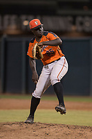 AZL Giants Orange relief pitcher Chris Roberts (85) delivers a pitch during an Arizona League game against the AZL Athletics at Lew Wolff Training Complex on June 25, 2018 in Mesa, Arizona. AZL Giants Orange defeated the AZL Athletics 7-5. (Zachary Lucy/Four Seam Images)