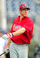 28 September 2010: Philadelphia Phillies' infielder Chase Utley awaits his turn in the batting cage prior to a game against the Washington Nationals at Nationals Park in Washington, DC. The Nationals defeated the Phillies 2-1 on an Adam Dunn walk-off solo homer in the 9th inning to even up their 3-game series one game apiece. Mandatory Credit: Ed Wolfstein Photo