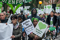 The monthly Grenfell Silent Walk in West London attended by survivors, firefighters and their supporters. 14-8-19