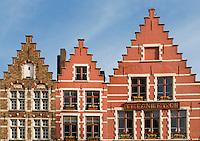 Belgium, Bruges, Gabled houses, Market Square, Brugge Markt