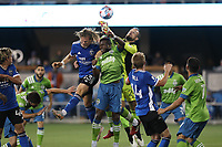 SAN JOSE, CA - MAY 12: Florian Jungwirth #23 of the San Jose Earthquakes battles for the ball with Stefan Frei #24 of the Seattle Sounders during a game between Seattle Sounders FC and San Jose Earthquakes at PayPal Park on May 12, 2021 in San Jose, California.