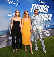 """LOS ANGELES, CA - JULY 15: (L-R) Becca Tobin, Vanessa Lengies, and Lyndsy Fonseca attend a premiere event for the Disney+ original series """"Turner & Hooch"""" at Westfield Century City on July 15, 2021 in Los Angeles, California. (Photo by Frank Micelotta/Disney+/PictureGroup)"""