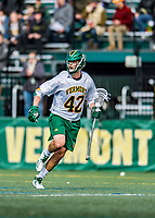 6 April 2019:  University of Vermont Catamount Attacker Dawes Milchling, a Senior from Cockeysville, MD, in action against the University at Albany Great Danes on Virtue Field in Burlington, Vermont. The Cats rallied to defeat the Danes 10-9 in America East divisional play. Mandatory Credit: Ed Wolfstein Photo *** RAW (NEF) Image File Available ***