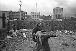 Hoxton area Tower Hamlets east London. Kids throwing stones. 1978 UK<br /> <br /> My ref 18a/3520/.1978,