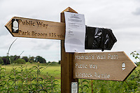 Hadrian's Wall Trail Sign, with Notice Announcing Temporary Detour.  Cumbria, England, UK.