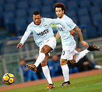 Calcio, Serie A: Lazio - Udinese, Roma, stadio Olimpico, 24 gennaio 2018.<br /> Lazio's Luis Carlos Nani (l) and Felipe Anderson (r) in action during the Italian Serie A football match between Lazio and Udinese at Rome's Olympic stadium, January 24, 2018.<br /> UPDATE IMAGES PRESS/Isabella Bonotto