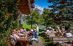 Austria, Salzburger Land, Dienten: mountain Inn 'Gruenegg' and Hochkoenig mountains | Oesterreich, Salzburger Land, Pinzgau, Dienten: Gruenegg Jausenstation vorm Hochkoenig