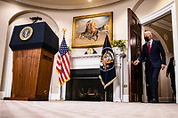 United States President Joe Biden arrives to address the nation after the US House passed the American Rescue Plan and sent it to the US Senate for consideration from the Rosevelt Room of the White House in Washington, D.C. on February 27, 2020. <br /> Credit: Sam Corum / Pool via CNP /MediaPunch