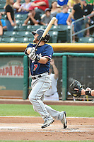 Garrett Weber (7) of the Reno Aces at bat against the Salt Lake Bees in Pacific Coast League action at Smith's Ballpark on July 24, 2014 in Salt Lake City, Utah.  (Stephen Smith/Four Seam Images)