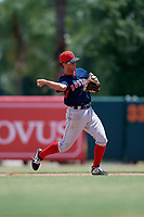 GCL Red Sox second baseman Daniel Bakst (48) throws to first base during a Gulf Coast League game against the GCL Orioles on July 29, 2019 at Ed Smith Stadium in Sarasota, Florida.  GCL Red Sox defeated the GCL Pirates 9-1.  (Mike Janes/Four Seam Images)