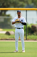FCL Tigers West outfielder Roberto Campos (24) during a game against the FCL Yankees on July 31, 2021 at Tigertown in Lakeland, Florida.  (Mike Janes/Four Seam Images)