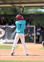 Fraidel Liriano participates in an international showcase hosted by JDB Baseball at the Quality Baseball Academy on February 20, 2018 in Santo Domingo, Dominican Republic (Bill Mitchell)