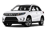 Stock pictures of low aggressive front three quarter view of a 2019 Suzuki Vitara Grand Luxe Xtra 5 Door SUV