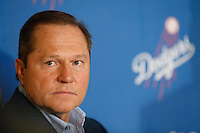 Baseball player agent Scott Boras during a press conference to introduce Hyun-Jin Ryu as the newest member of the Los Angeles Dodgers at Dodger Stadium in Los Angeles, California on December 10, 2012. (Larry Goren/Four Seam Images)