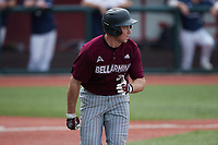Chris Gambert (32) of the Bellarmine Knights hustles down the first base line against the Liberty Flames at Liberty Baseball Stadium on March 9, 2021 in Lynchburg, VA. (Brian Westerholt/Four Seam Images)