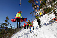 "Watching a demonstration, Air Ambulance crews from various countries meet at ""CampEurope"", Torpomoen in Norway,  to exchange ideas and learn from each other.<br /> Norwegian Air Ambulance Foundation is host for the event."
