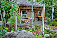 Cabin and aspen trees. Betty Ford Alpine Gardens. Vail, Colorado