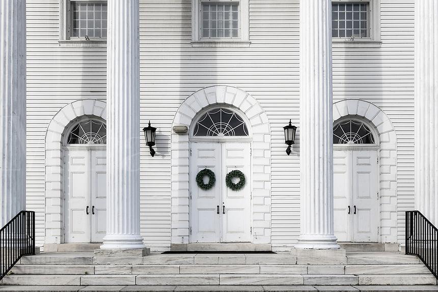 White Congregational church exterior detail, Williamstown, Massachusetts, USA.