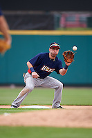 Toledo Mudhens second baseman Tyler Bortnick (22) waits for a throw during a game against the Rochester Red Wings on June 12, 2016 at Frontier Field in Rochester, New York.  Rochester defeated Toledo 9-7.  (Mike Janes/Four Seam Images)