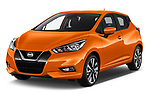 2017 Nissan Micra Tekna 5 Door Hatchback Angular Front stock photos of front three quarter view