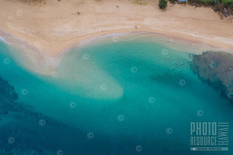 An aerial view of a sandbar at Tunnels Beach, Ha'ena, Kaua'i.