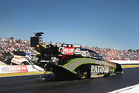 Mar. 16, 2013; Gainesville, FL, USA; NHRA funny car driver Alexis DeJoria during qualifying for the Gatornationals at Auto-Plus Raceway at Gainesville. Mandatory Credit: Mark J. Rebilas-