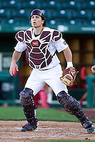 Brett Marshall (3) of the Missouri State Bears prepares to catch a ball thrown to home plate during a game against the Southern Illinois University- Edwardsville Cougars at Hammons Field on March 10, 2012 in Springfield, Missouri. (David Welker / Four Seam Images)