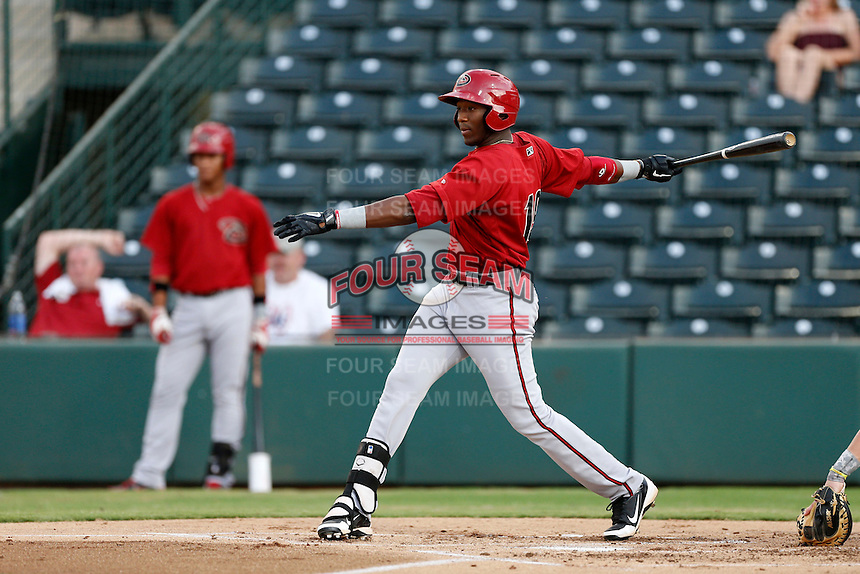 Justin Williams #19 of the AZL Diamondbacks bats against the AZL Angels at Tempe Diablo Stadium on July 14, 2013 in Goodyear, Arizona. AZL Angels defeated the AZL Diamondbacks, 5-3. (Larry Goren/Four Seam Images)