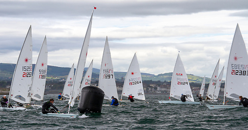 Racing at the Royal St. George Yacht Club hosted MGM Boats Irish Laser Masters 2021 off Dun Laoghaire Harbour