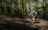 Daryl Impey (ZAF/Mitchelton-Scott) in the forest<br /> <br /> 83rd La Flèche Wallonne 2019 (1.UWT)<br /> One day race from Ans to Mur de Huy (BEL/195km)<br /> <br /> ©kramon