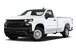 Stock pictures of low aggressive front three quarter view of 2021 Chevrolet Silverado-1500 WT 2 Door Pick-up Low Aggressive