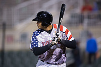 Antonio Rodriguez (14) of the Kannapolis Intimidators at bat against the Lakewood BlueClaws at Kannapolis Intimidators Stadium on April 7, 2017 in Kannapolis, North Carolina.  The BlueClaws defeated the Intimidators 6-4.  (Brian Westerholt/Four Seam Images)