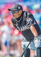 7 March 2016: Miami Marlins outfielder Ichiro Suzuki awaits his turn in the batting cage prior to a Spring Training pre-season game against the Washington Nationals at Space Coast Stadium in Viera, Florida. The Nationals defeated the Marlins 7-4 in Grapefruit League play. Mandatory Credit: Ed Wolfstein Photo *** RAW (NEF) Image File Available ***