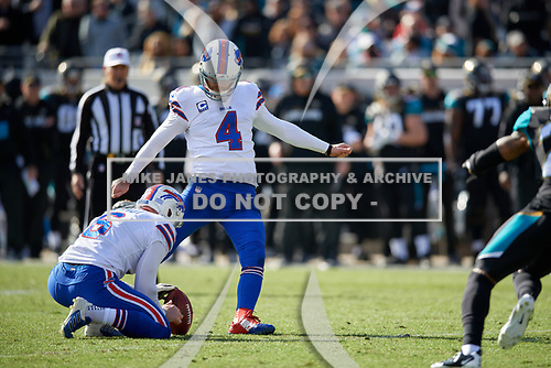 Buffalo Bills Stephen Hauschka (4) kicks a field goal in the second quarter of an NFL Wild-Card football game against the Jacksonville Jaguars, Sunday, January 7, 2018, in Jacksonville, Fla.  (Mike Janes Photography)
