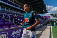 ORLANDO, FL - FEBRUARY 24: Marta #10 of Brazil leaves the field before a game between Brazil and Canada at Exploria Stadium on February 24, 2021 in Orlando, Florida.