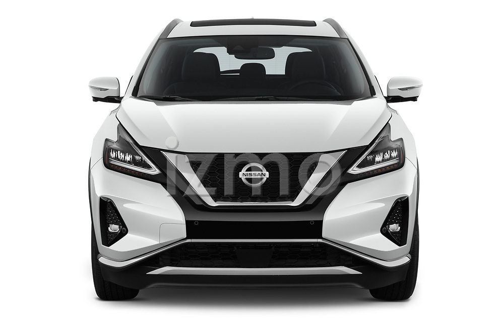 Car photography straight front view of a 2019 Nissan Murano SL 5 Door SUV Front View