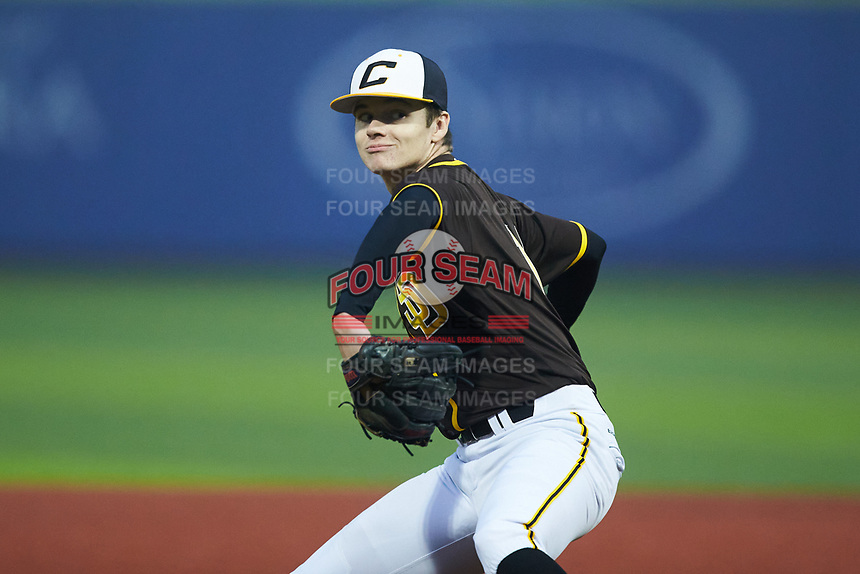 Matthew Hall of West Johnston High School (NC) playing for the San Diego Padres scout team during the South Atlantic Border Battle Futures Game at Truist Point on September 25, 2020 in High Pont, NC. (Brian Westerholt/Four Seam Images)
